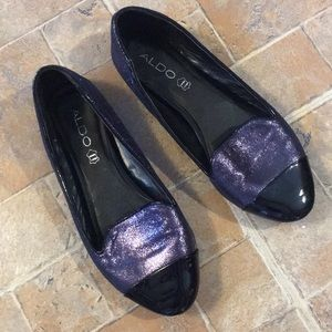 Aldo purple metallic flats shoes size women's 6